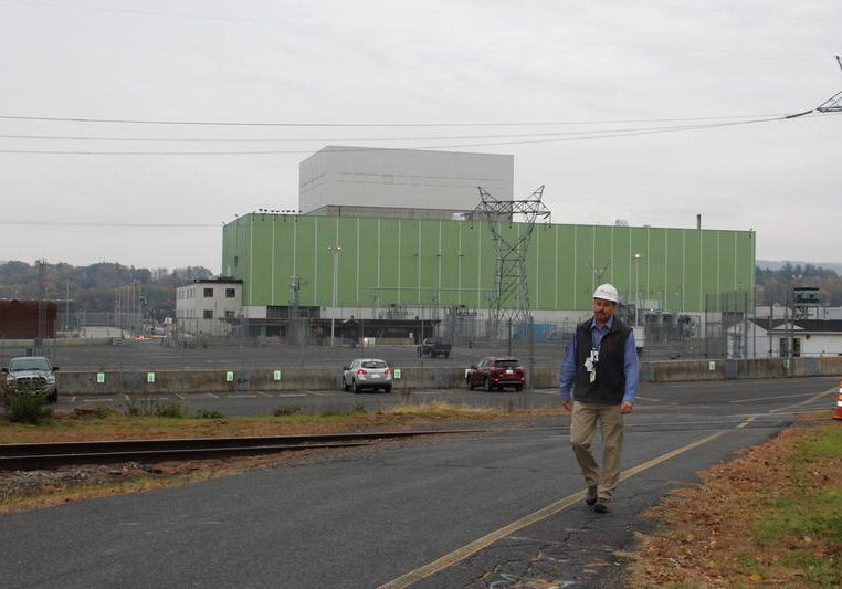 Vermont Yankee Decommissioning Director Corey Daniels walks across the parking lot at the plant. Photo courtesy of Entergy