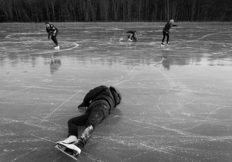 At rear, from left, on the ice: Dave Marks, Kate Popetz and Anna Morningstar. At foreground: Rachael Tani. Photo by Ellery Berenger for NEPR