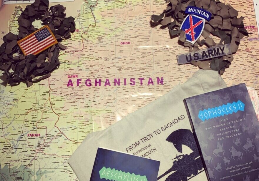 Zac Conaway carried this map while deployed in Afghanistan in 2009. In recent months, he said the reading group has enabled him to ask questions of Vietnam veterans that have helped him process his own feelings about the events in Afghanistan.