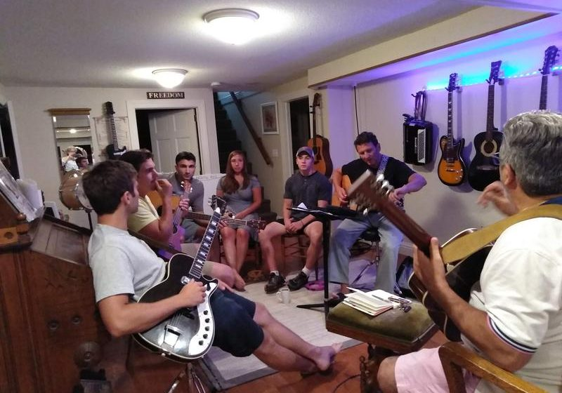The Manzi Family Band in a Longmeadow, Massachusetts, basement, rehearsing for their July 14, 2018, show at the Majestic Theater in West Springfield, Massachusetts. Photo by Jill Kaufman for NEPR