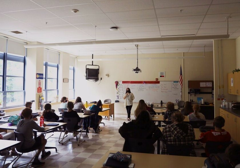 Brooke Proulx, a school social worker at Gorham Middle School, is teaching an 8th grade health class lesson about responsible decision-making skills.