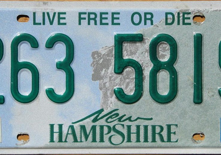 "The New Hampshire motto ""Live Free or Die"" displayed on the state license plate. Photo via plateshack.com"