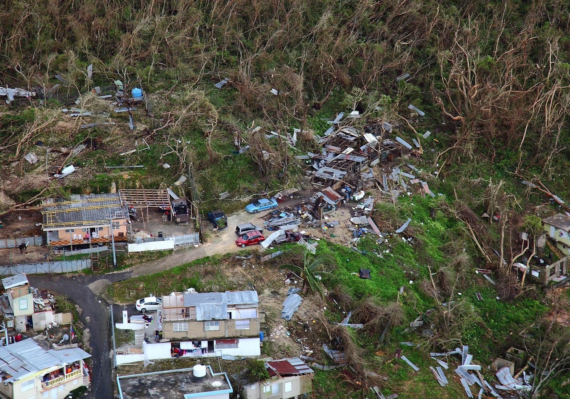 Homes lay in ruin as seen from a U.S. Customs and Border Protection, Air and Marine Operations, Black Hawk during a flyover of Puerto Rico after Hurricane Maria September 23, 2017. Photo by Kris Grogan for U.S. Customs and Border Protection
