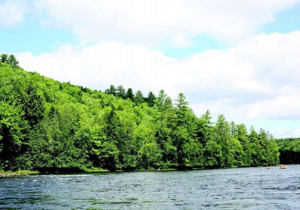 View looking northeast from the Kennebec Gorge - The new project includes cutting a new corridor through about 53-miles of forest in western Maine and crossing the scenic Kennebec River Gorge. Photo credit Central Maine Power