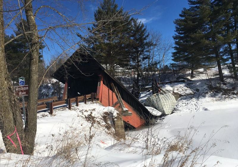 The River Road covered bridge in Troy, Vermont collapsed in February due to a fire. (Anna Van Dine/VPR)