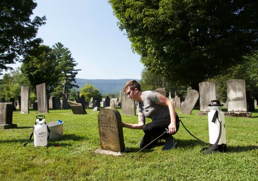 Caitlin Abrams of Vermont has become TikTok-famous for her grave-cleaning videos. (Elodie Reed/VPR)